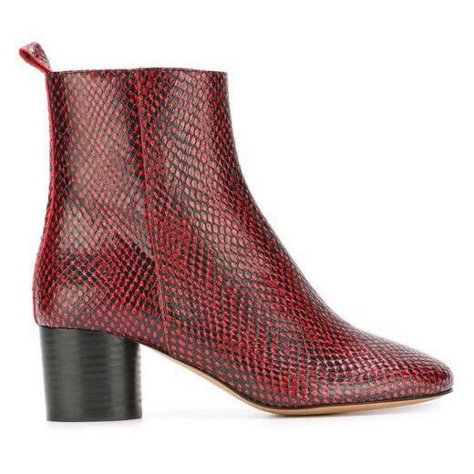 ISABEL MARANT Deyissa Python Embossed Leather Ankle Boots Red / Black Size 37