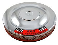 """Chrome 14"""" x 2"""" Air Cleaner Breather 289 Logo Ford Mustang Fastback Coupe GT"""