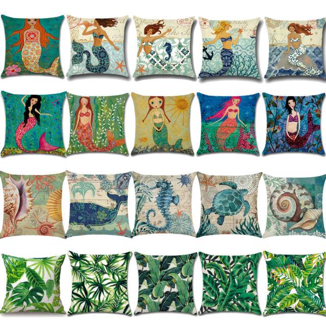 Vintage Home Decor Cotton Linen Pillow Case Sofa Waist Throw Cushion Cover 18
