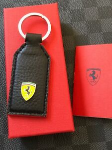 Genuine Ferrari Metal Carbon Fiber Keyring Scudetto Super RARE Brand NEW