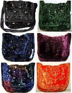 GREEN-BLACK-BLUE-ORANGE-BURGUNDY-VELVET-MIRROR-HIPPY-HANDBAG-SHOULDER-BAG-GOTH