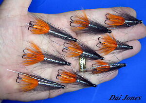 sewin// sea trout salmon BLACK /& BLUE  snake flies X 3.