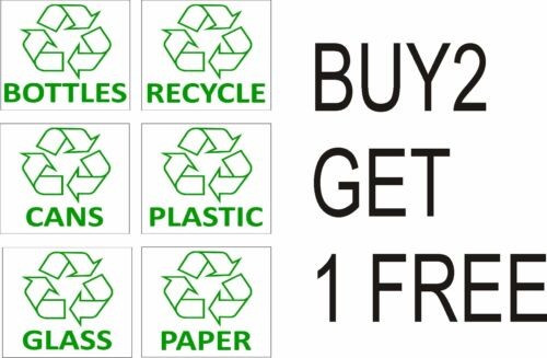 Recycling Bin Stickers Recycle Paper,Plastic,Cans,Bottles.With logo Signs