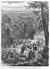 HORSE RACING Ascot Races, view on the Avenue, Windsor Park - Antique Print 1871