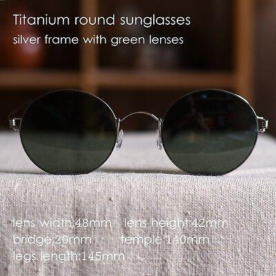 Vintage Titanium Round sunglasses HARRY POTTER mens silver frame green lenses