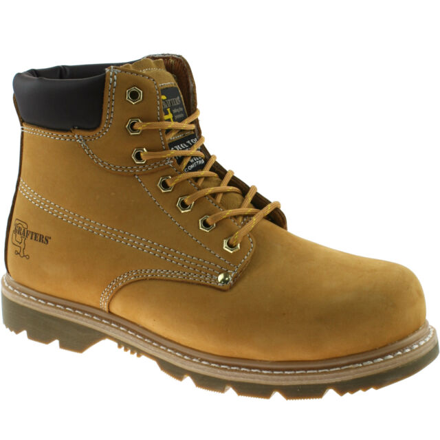 MENS GRAFTERS LEATHER SAFETY WORK BOOTS SIZE UK 13 - 15 STEEL TOE HONEY M124N KD
