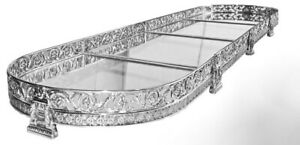 4-Section-Silver-Plated-Table-Plateau-Surtout-De-Table-Centerpiece