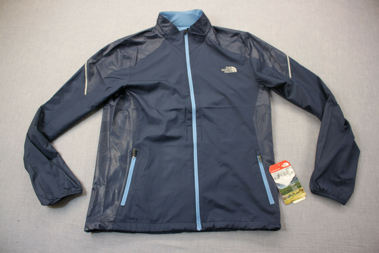 35ed849a6 North Face DWR Mens Blue Wicking FlashDry Reflective Running Jacket S