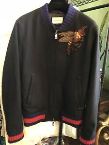100 authentic gucci large bee wool bomber jacket 1890 ebay