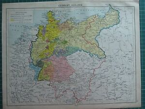 Map Of Germany In 1914.Details About Historical Map Germany 1815 1914 Saxony Thuringia Confederation German Empire