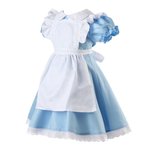 Alice in Wonderland Girls Fancy Dress Maid Lolita Costume Cosplay Outfits Set