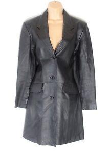 véritable Veste Fitted femmes Enjoy 100 taille Vintage pour Uk12 Life cuir noir wCw6qf84