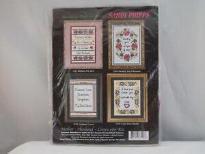 """NEW SANDI PHIPPS MOTHER HUSBAND LOVER FOUR 5x7"""" COUNTED CROSS STITCH KITS SS02"""