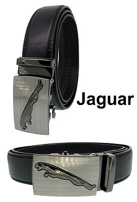 Jaguar Style Fashion Mens Real Leather Ratchet Quick Release Belts