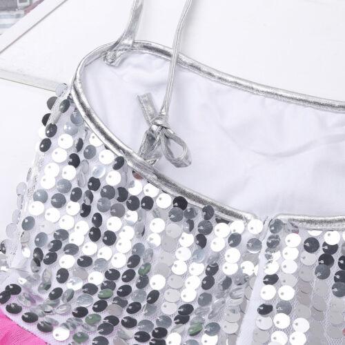 Girls Kids Ballet Jazz Dancewear Costume Sparkly Dance Dress Modern Shiny Outfit