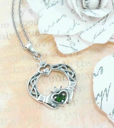 Claddagh Necklace Sterling Silver Emerald Green CZ Crystal May Birthstone wh333