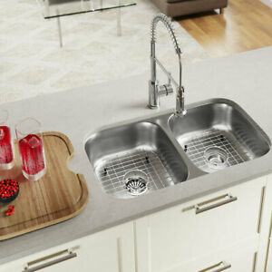 Marvelous Details About Stainless Steel 32 X 18 Double Basin Undermount Kitchen Sink Mrdr1976 Download Free Architecture Designs Terchretrmadebymaigaardcom