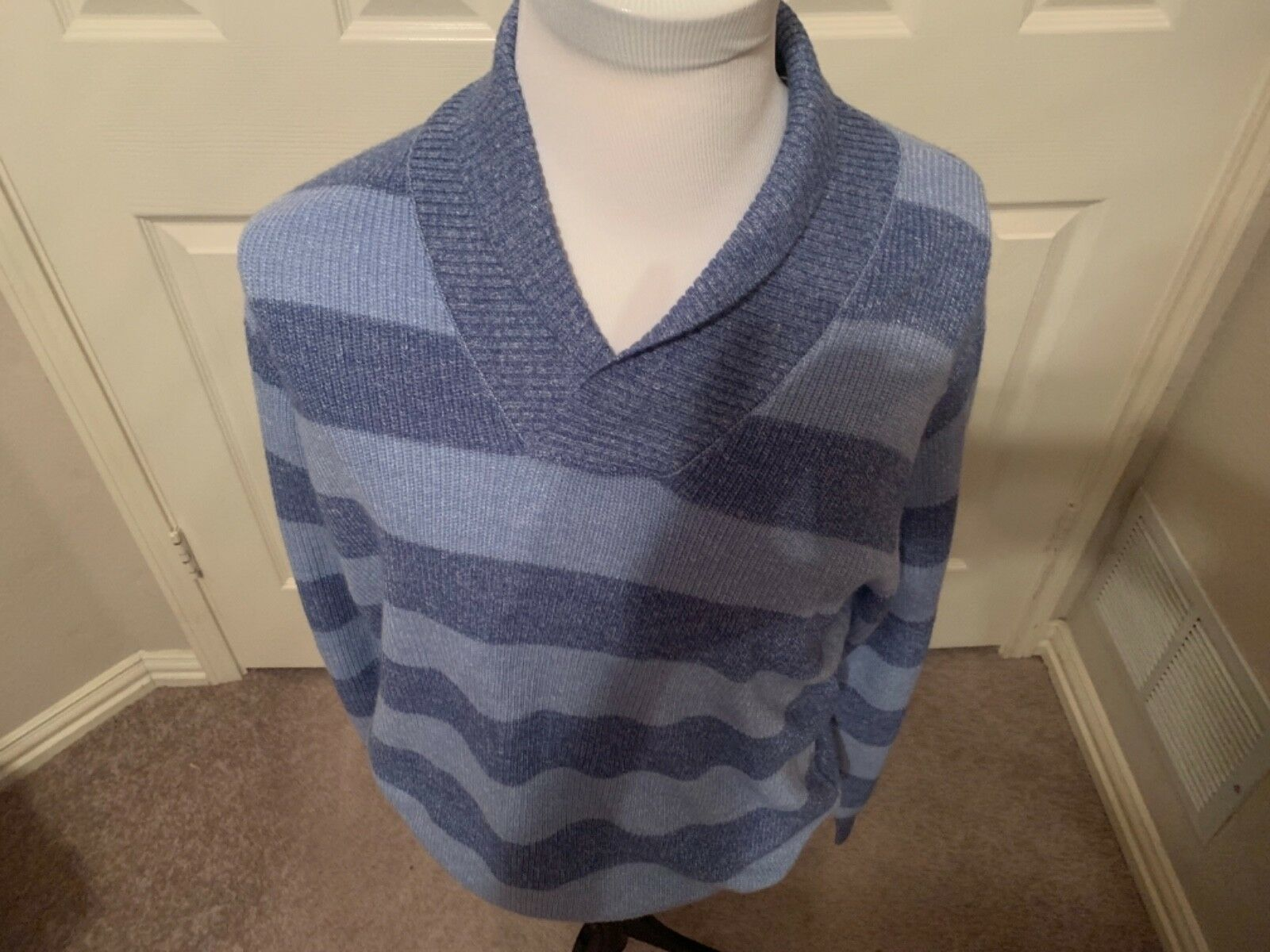 185 PETER MILLAR Shawl Collar  Sweater wool linen L  Blau