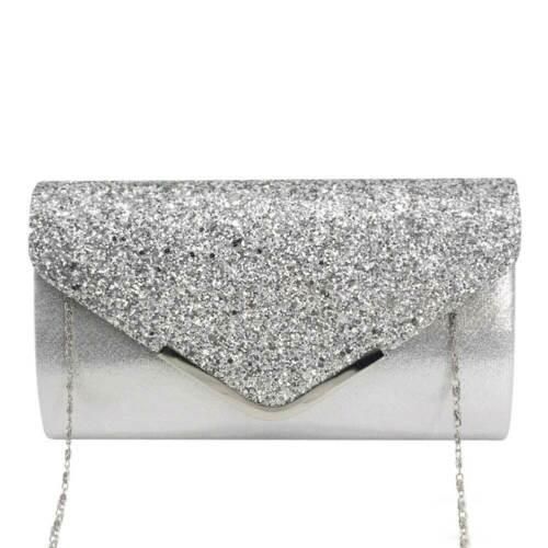 Glitter Women Formal Evening Clutch Purse Wedding Bridal Party Prom Handbag Bag
