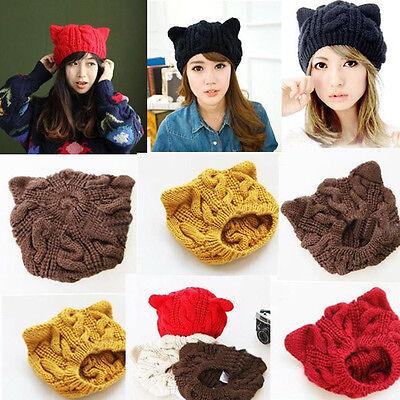 Fashion Women Winter Lady Kitty Cat Bear Ears Devil Hat Elastic Soft Beanie Cap