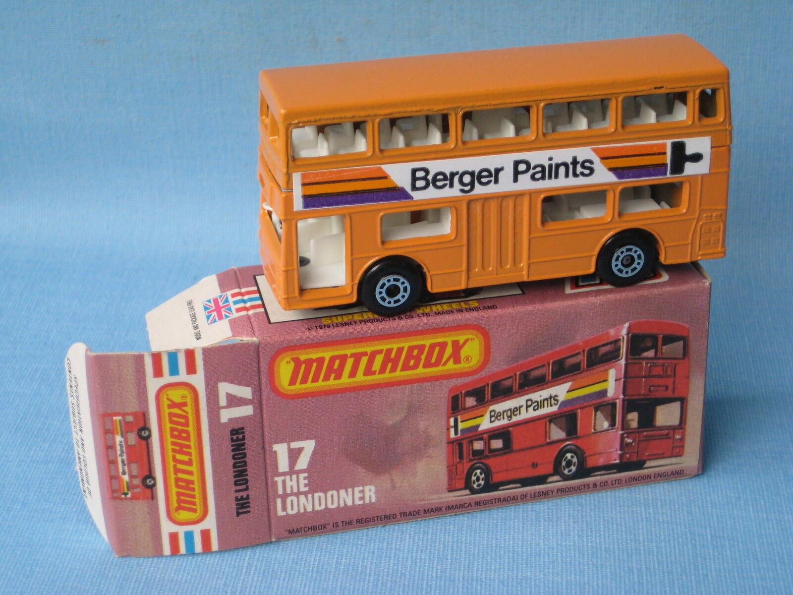 MatchBox SF-17 Londoner bus Berger Paints Orange Körper RARE Boxed