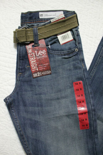 NEW BOY/'S LEE DUNGAREES SURE TO FIT DENIM BLUE JEANS WITH BELT NWT