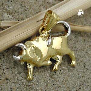 Anhaenger-Stier-Bulle-echt-Gold-9-Karat-375-bicolor-Maenner-Herren-zweifarbig-neu