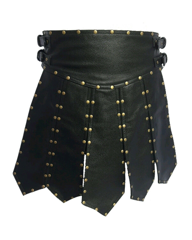 Sexy Mens Real Black Cow Leather Heavy Duty Gladiator Pleated Kilt LARP