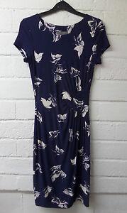 Womens-Ladies-New-Long-Navy-Blue-Butterfly-Print-Twist-Pleat-Bodycon-DressUK8-16