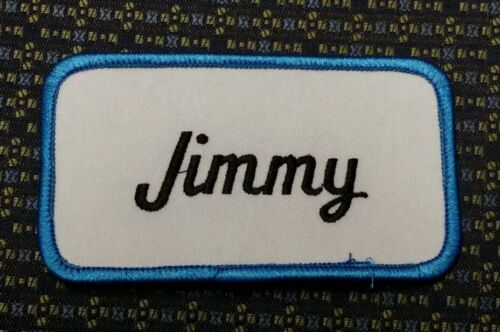 JIMMY NAME TAG BLUE AND WHITE Iron or SewOn Patch
