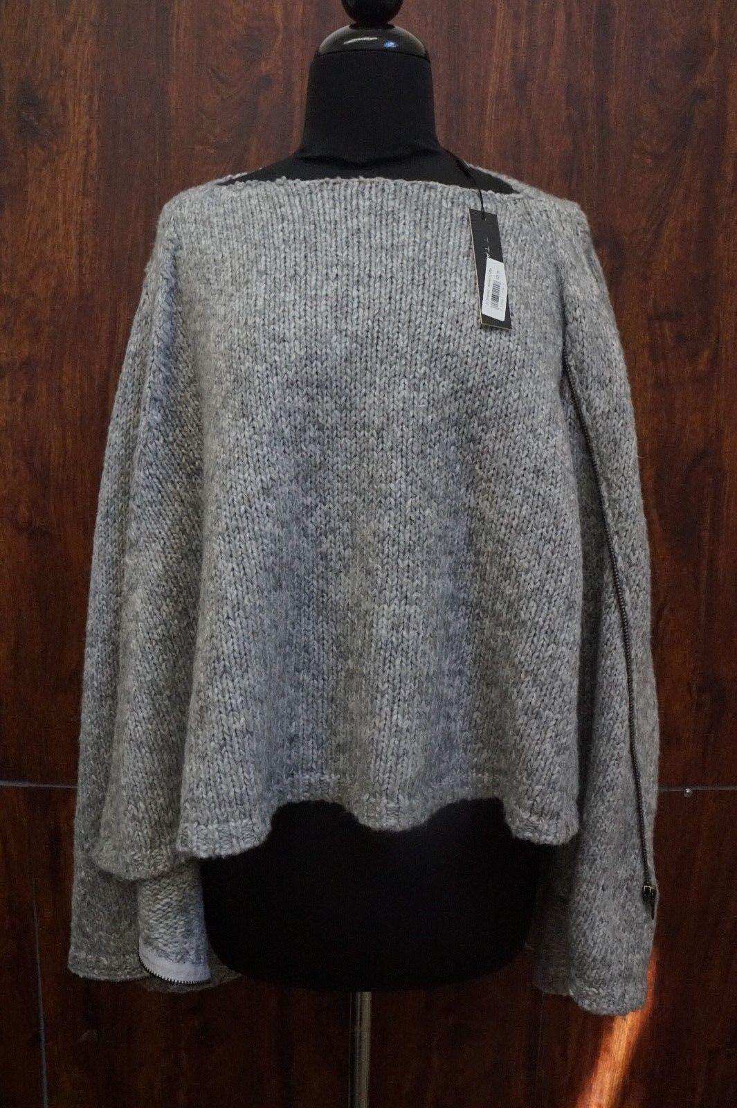 T Tahari 3736 Womens Vivian Asymmetric Knit Full Zip Sweater Top