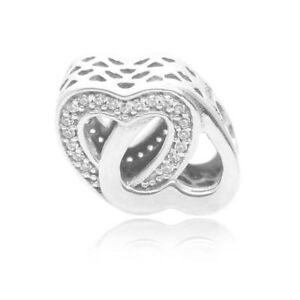 44322ee03 Image is loading Authentic-Pandora-Bead-Sterling-Silver-Entwined-Love -Hearts-