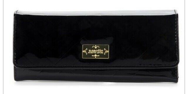 Nanette Lepore Phone And Lip Stick Wallet Black Gold Quilt