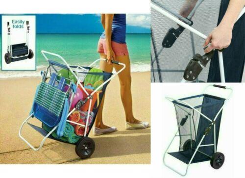 Beach Wagon Cart Collapsible Folding Outdoor Utility Wagon Wide Wheels Beachgear