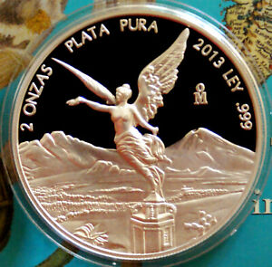 2013-Proof-Libertad-2-Ounce-999-Silver-Coin-Rare-Low-Mintage-of-1-300