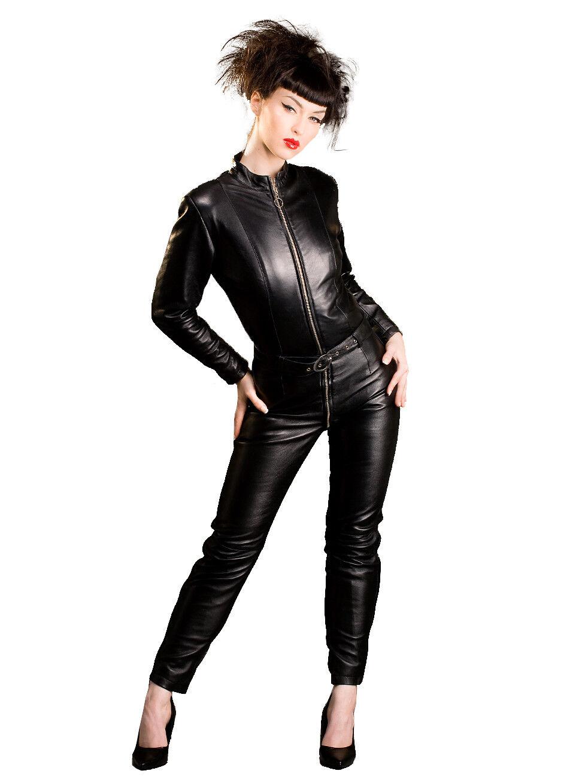 Honour para Mujer Sexy Catsuit  en traje de cuero con cinturón deisng Biker Bitch  100% garantía genuina de contador