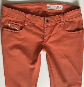 Ladies Diesel Grupee B Super Slim Tapered orange Jeans w26 l32 (741g)