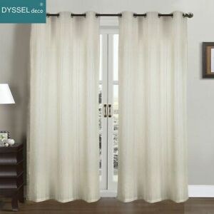 Pairs Modern Drapery White Striped Linen Home Decorative Sheer Window Curtain Ebay