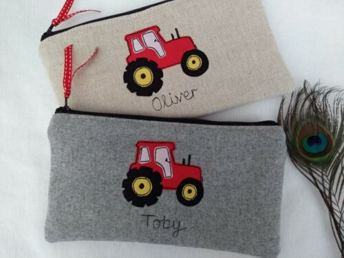 Personalised Tractor Pencil Case Grey Wool or Linen Word /& Colour Choice Lined