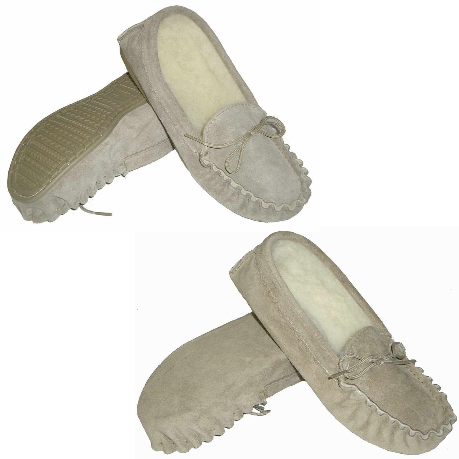 Womens Lambswool Lined Sheepskin Suede Moccasins - Made in UK