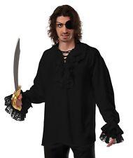 Ruffled Pirate Shirt Black Renaissance Colonial Gothic Dracula Poet Vampire Fast