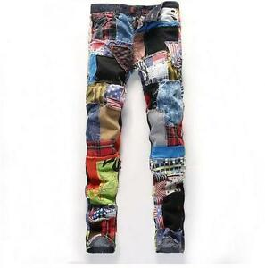 Hot-Sale-Fashion-Mens-Design-Patchwork-Color-Stitching-Denim-Trousers-Jean-Pants