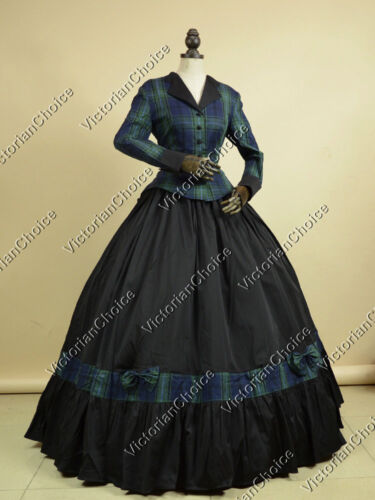 Victorian Costumes: Dresses, Saloon Girls, Southern Belle, Witch    Victorian Civil War Maiden Tartan Plaid 2PC Dress Reenactment Cosplay Wear N 122 $155.00 AT vintagedancer.com
