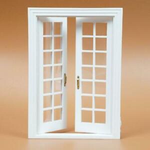1-12-Doll-House-White-Wood-Exterior-Double-French-Doors-Door-DIY-SET-Trim-w-P5Q0