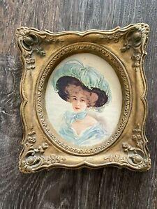 Vtg Gold Gilt Ornate Picture Frame Chalkware ? Baroque Rococo Victorian Lady B