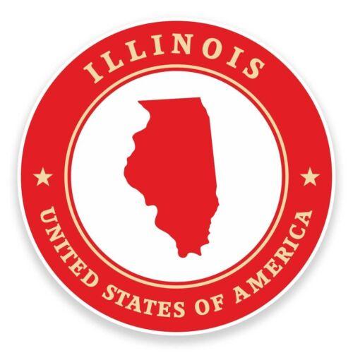 2 X Pegatina De Vinilo De Illinois Usa Coche Viaje Equipaje #9352