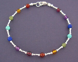 Small plus size bracelet rainbow gemstones in sterling for Plus size jewelry bracelets