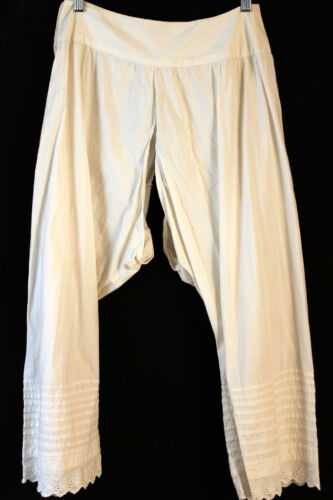 LONG VICTORIAN-EDWARDIAN WHITE COTTON  BLOOMERS