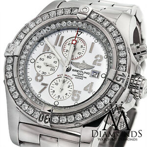 9d7e6c390fb Image is loading Breitling-Super-Avenger-A13370 -White-Dial-Diamond-Authentic-