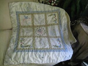 Simply Shabby Chic British Blue Roses Patchwork Baby Quilt